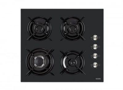 3 göz gaz + 1 göz wok, yandan otomatik ateşlemeli, siyah cam, 60 CM